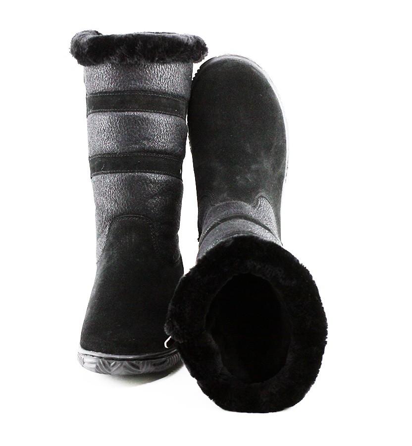 Дутики женские с замком ЛЗ-черные